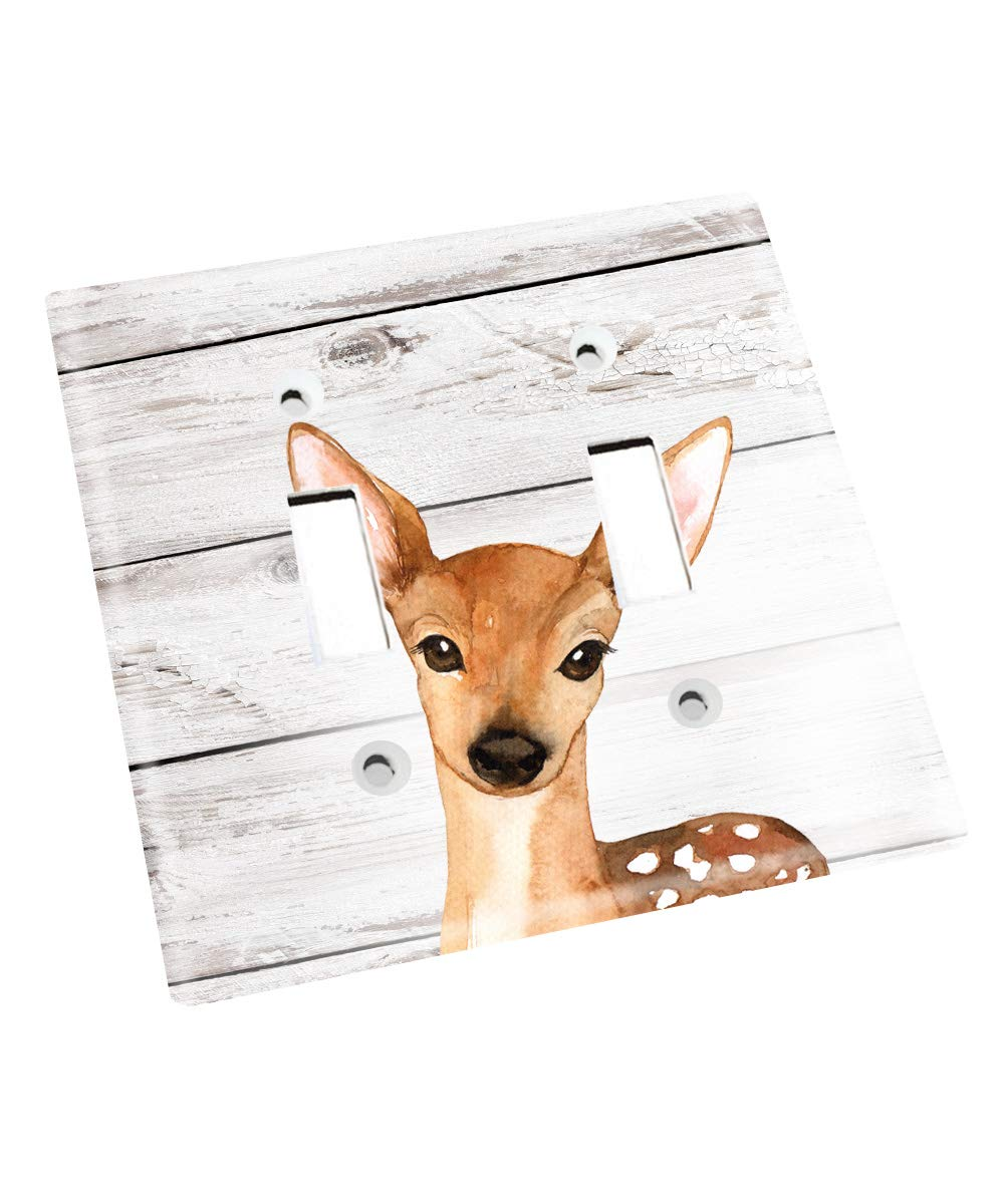 Deer Kids Bedroom Baby Nursery Light Switch Cover LS0110 (Double Standard) by Toad and Lily