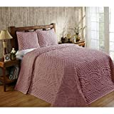 3 Piece Pink Chenille Geometric Tufted Pattern Bedspread Full Set, Elegant High-Class Luxurious Rich Motif Textured Design, Reversible Bedding, Shabby Chic Country Style, Natural Color, Unisex
