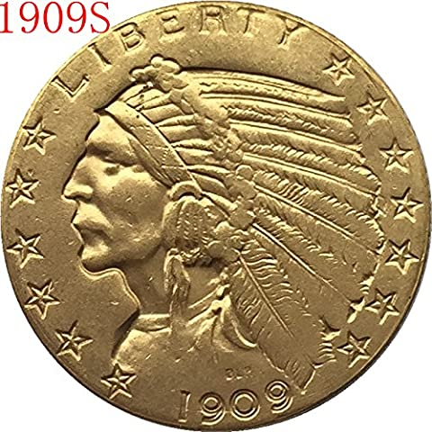 24-K gold plated 1909-S $5 GOLD Indian Half Eagle Copy Coin (Indian Gold Ornaments)