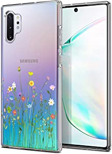 Unov Galaxy Note 10 Plus Case Clear with Design Soft TPU Shock Absorption Slim Protective Galaxy Note 10 Plus/Note 10 Plus 5G Case Embossed Pattern (Flower Bouquet)