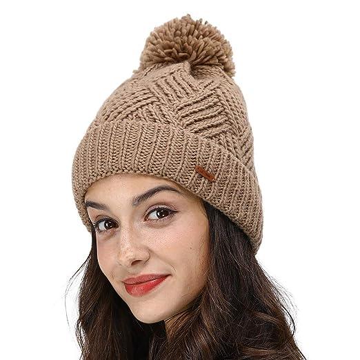 34d43f2a77faa LETHMIK Slouchy Pom Beanie Hat,Knit Skull Winter Cuff Beanie Cap for Women  Cute Winter Pom Pom