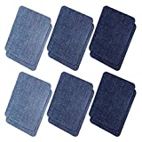 Iron On Denim Patches for Clothing Jeans, 12Pcs No-Sew Denim Patches Assorted Cotton Jeans Repair Kit,Great for DIY Sew on Patch for Jeans, with 3 Assorted Colors (4.9' X 3.7')