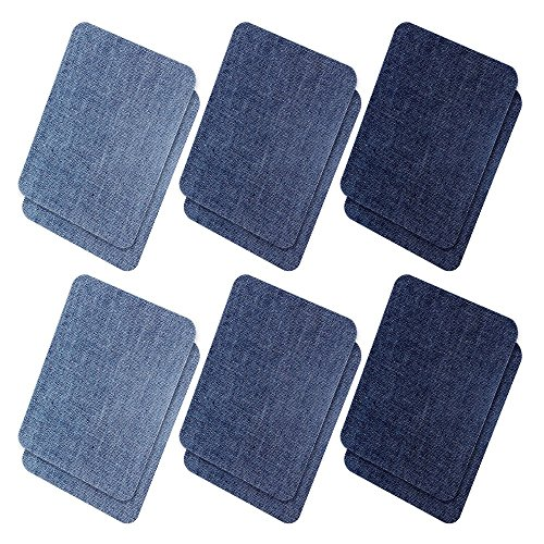 Iron On Denim Patches for Clothing Jeans, 12Pcs No-Sew Denim Patches Assorted Cotton Jeans Repair Kit,Great for DIY Sew on Patch for Jeans, with 3 Assorted Colors (4.9