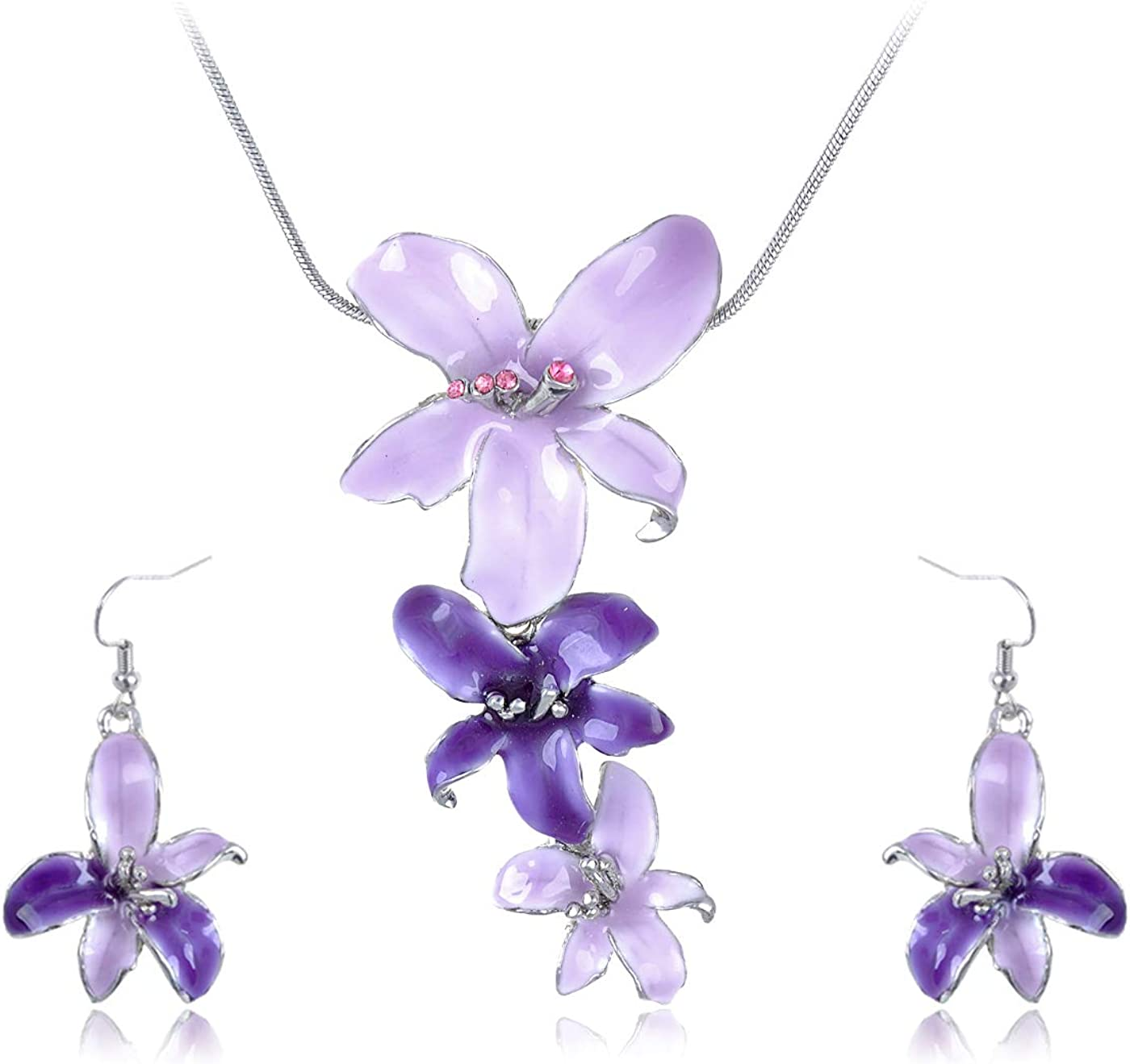 Silvery and lilac flower earrings