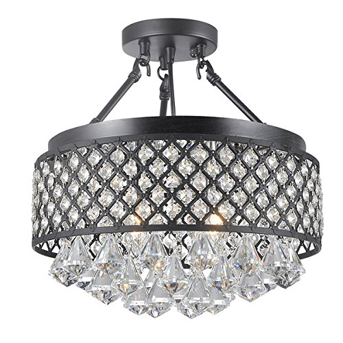 Candice 4-light Semi Flush Mount Crystal Chandelier - Candice Chrome Chandelier