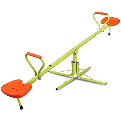 Nova Microdermabrasion Kids Seesaw Swivel Teeter-Totter Home Playground Equipment, 360 Degrees Rotating Safe, Outdoor Fun for Kids, Toddlers, Boys, Children (2 Seats): Toys & Games