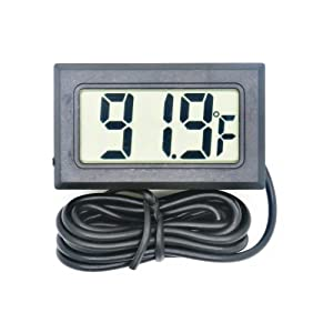 Digital Refrigerator Thermometer LCD Display Thermostat Oven Thermometer Freezer Electronic Temperature Hygrometer with Probe for Vehicle Fish Tank Aquarium Incubators Brooders Climb Pet(Fahrenheit) (Color: black, Tamaño: 48 x 28 x 15mm)