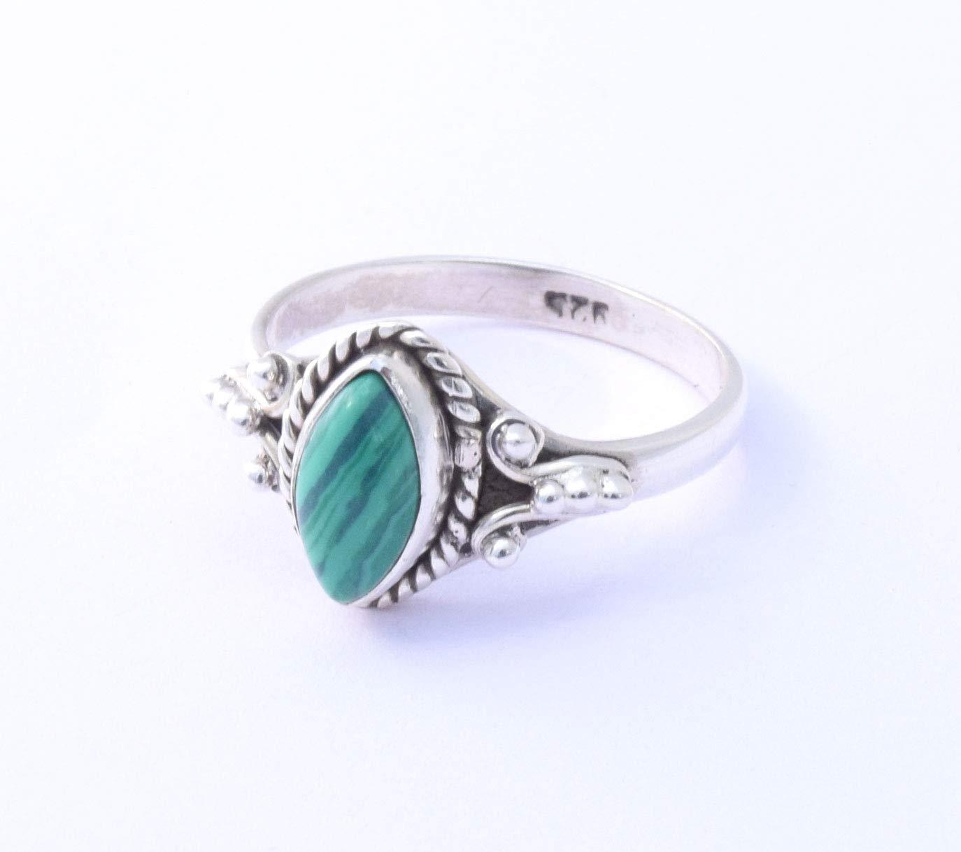 Malachite Ring Sterling Silver Green Stone Ring Bohemian Ring Elegant Ring Girls Women Ring Promise Ring Designer Ring Anniversary Ring Gift