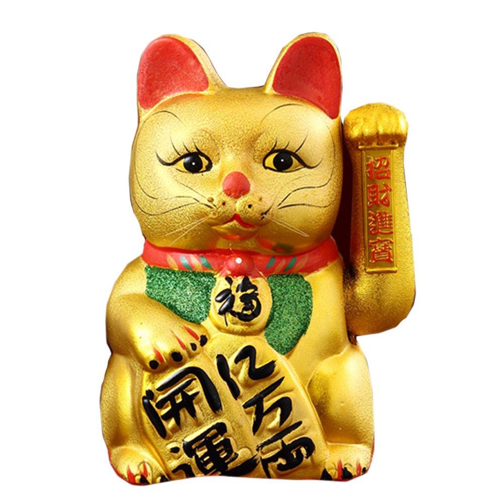 FANCY PUMPKIN 13'' Waving Lucky Fortune Cat Maneki Neko Japanese Porcelain Lucky Cat Money Box Piggy Bank