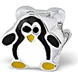 Sterling Silver Black and White Penguin Double-Sided Bead - 4.5mm Hole