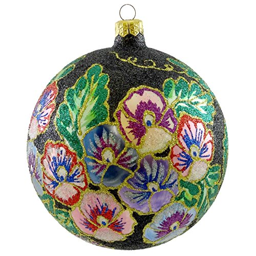 Larry Fraga SILK SPUN Blown Glass Ornament Ball Flower Floral 3107