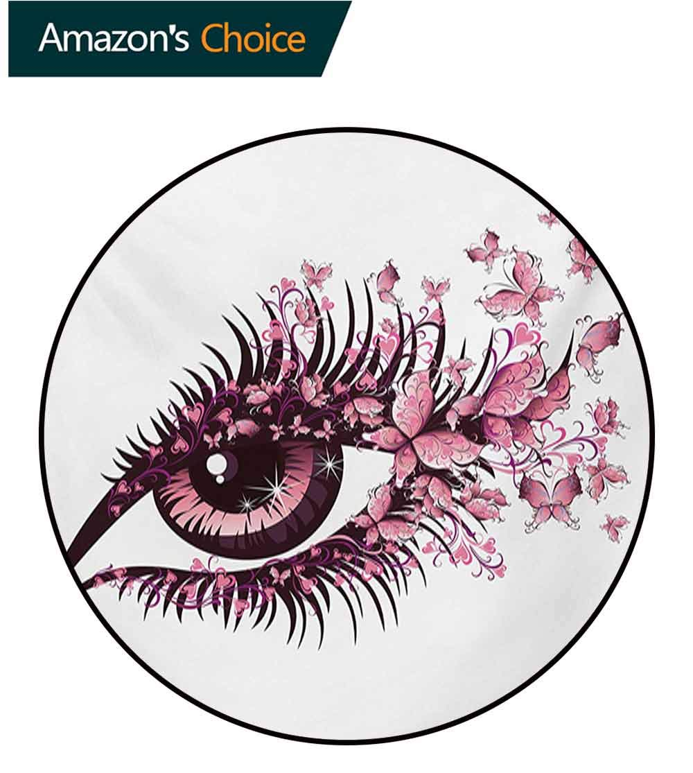 RUGSMAT Butterflies Small Round Rug Carpet,Fairy Female Eye with Butterflies Eyelashes Mascara Stare Party Makeup Door Mat Indoors Bathroom Mats Non Slip,Round-55 Inch Pale Pink Purple by RUGSMAT (Image #3)