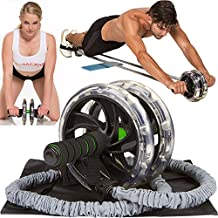 AB WOW Ab Roller with Bonuses, Pro Abdominal Workout & Core Fitness Trainer for Home Gym, Perfect Abs Exercise Equipment for Men or Women, 6 Pack Ab Wheel Roller
