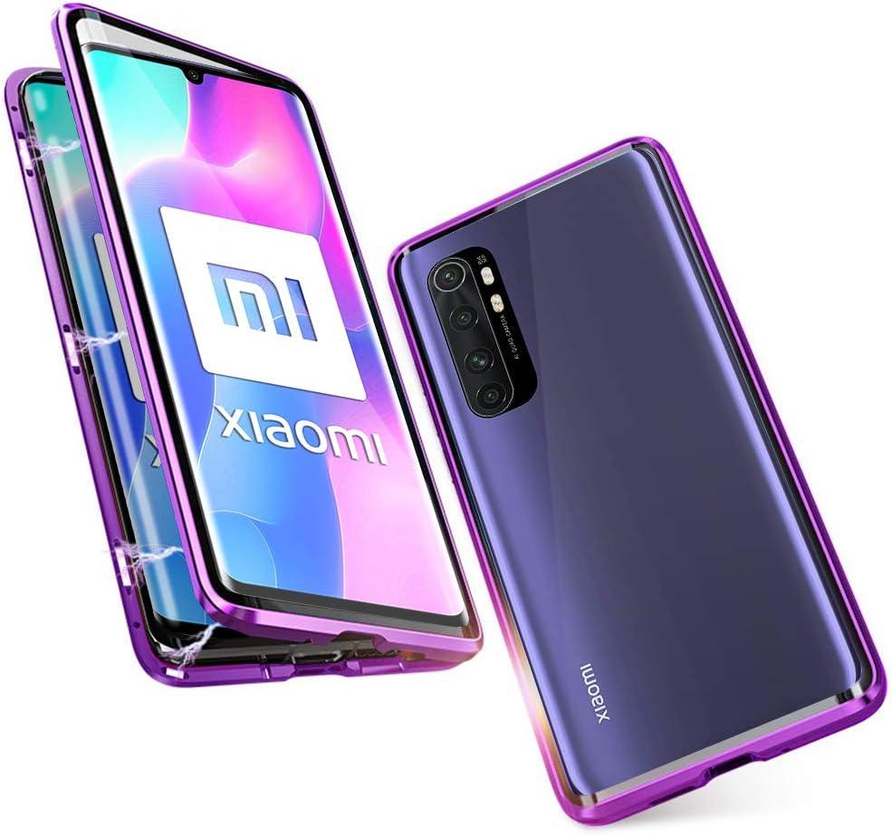 JoiCase Funda para Xiaomi Mi Note 10 Lite Adsorcion Magnetica Carcasa 360 Grado Protección Estuche Marco Aluminio Untre Delgada Háptico Vidrio Templado Anti Choque Metal Flip Cover