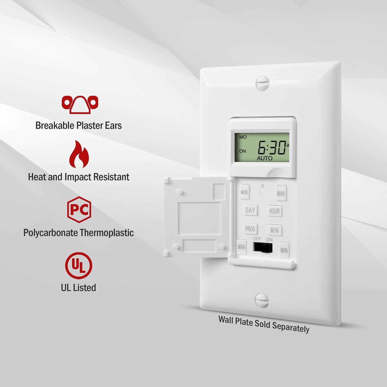 Enerlites HET01-C Programmable Timer Switch Digital Timer Switch for Lights in