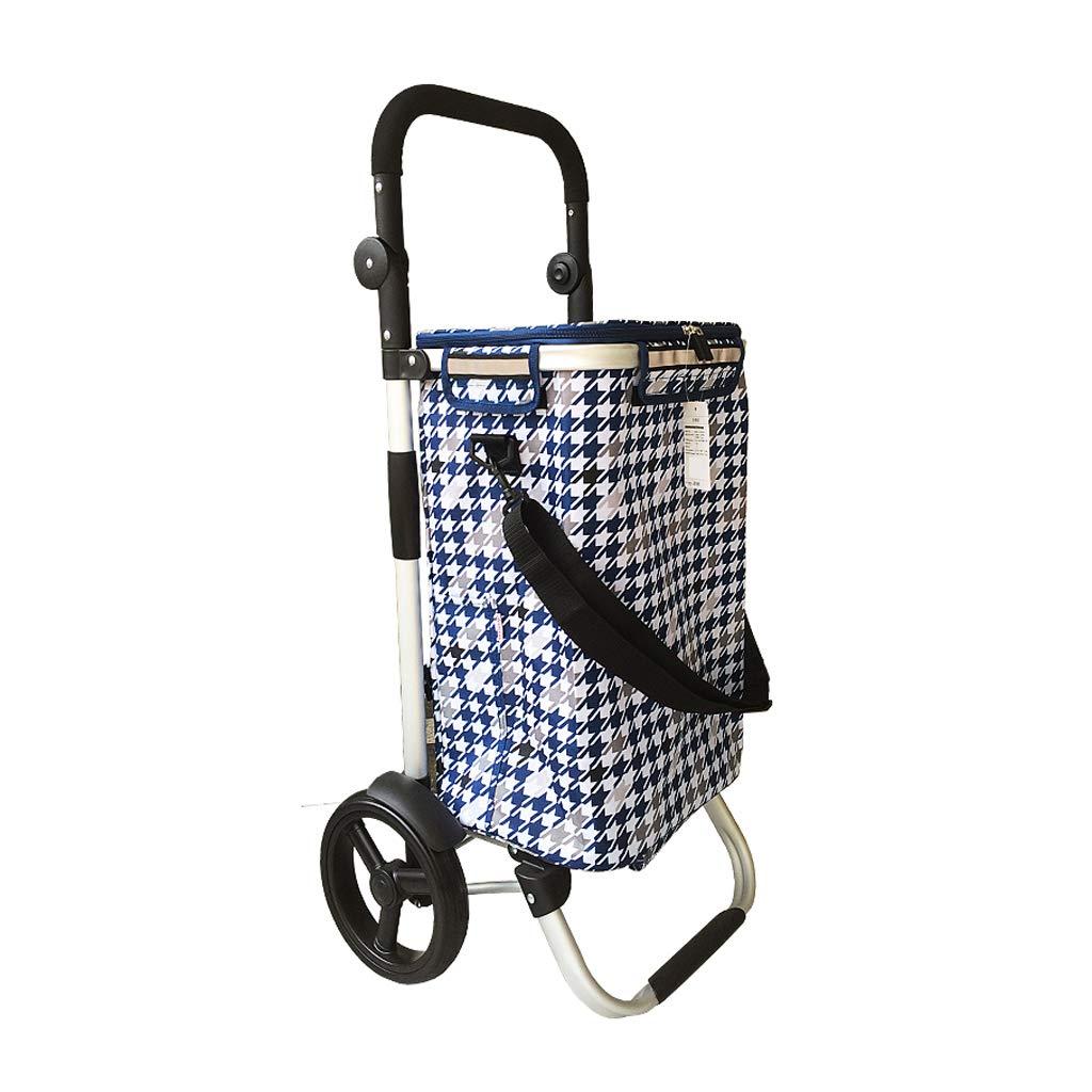 HJYSTC Aluminum Shopping Cart, 8-inch Wheel Full Car Foldable Wide Flat Small Pull Cart 7 Colors Optional (Color : F)