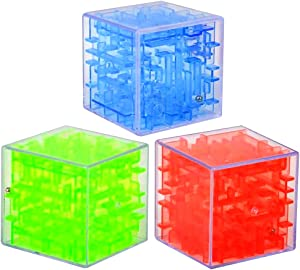 Gamie Puzzle Cube Game, Set of 3, Maze Cube Puzzles for Kids, Mini Fidget Toys and Brain Teasers for Children, Birthday Party Favors, Goodie Bag Fillers, Stocking Stuffers