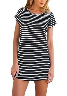 0068906dbff7 Sommerkleider Damen Kurz Elegant T Shirt Kleider Kurzarm Rundhals Gestreift  Tunika Minikleid Mit Schlitz Blusenkleider Loose