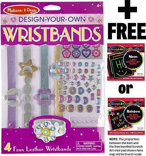 Melissa & Doug Design-Your-Own Wristbands + FREE Scratch Art Mini-Pad Bundle -