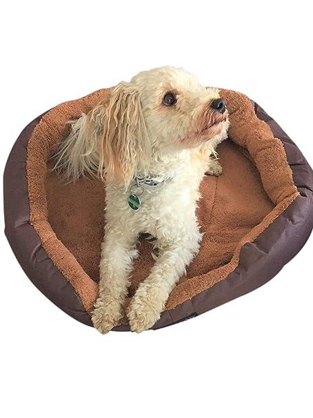 Lia cama para perros Tamaño M 50 cm de diámetro con cojín Reversible marrón/beige
