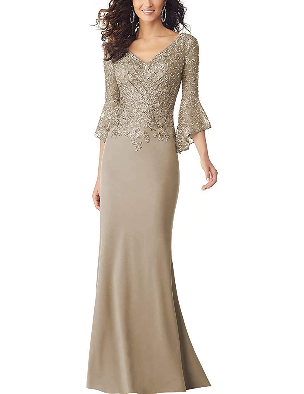 Champagne PearlBridal Women's Bodycon Mermaid Mother of The Bride Dresses Lace Ruffle Sleeves Long Evening Party Gown