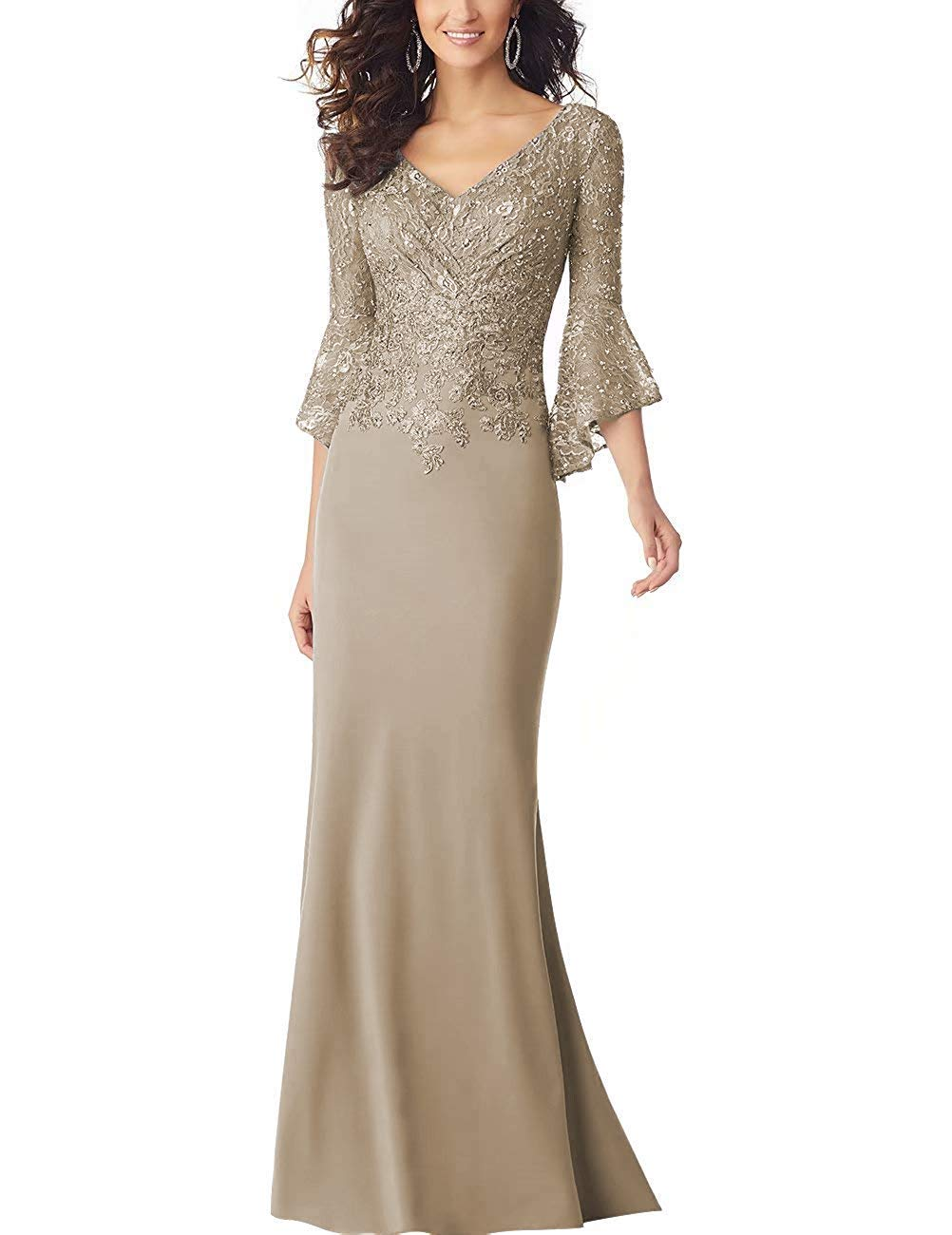 Champagne Long Sleeve Mother Of The Bride Dress Evening Formal Party Gowns lace