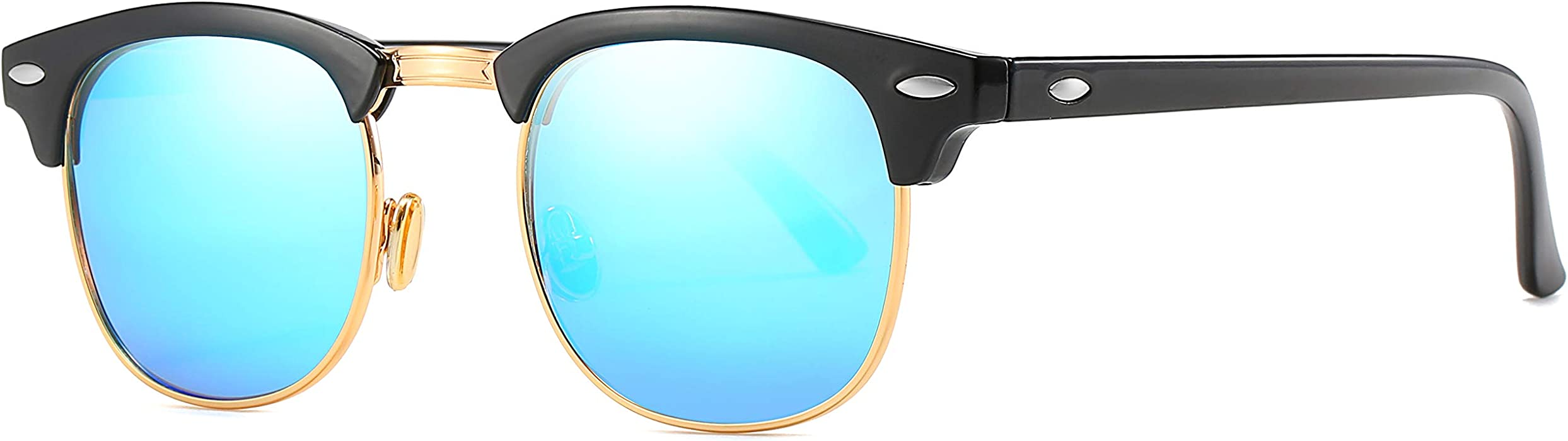 fb8a943545 MAOLEN Retro Polarized lens Sunglasses,Women men Semi Rimless clubmaster  sunglasses (blue)