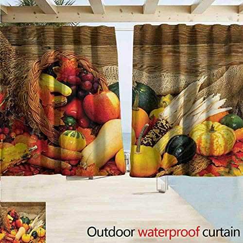 (Wlkecgi Harvest Pergola Curtain Thanksgiving Related Foods Scattered on Wooden Table Vegetables Fruits Insulated with Grommet Curtains for Bedroom W72 xL63 Vermilion Brown Green)