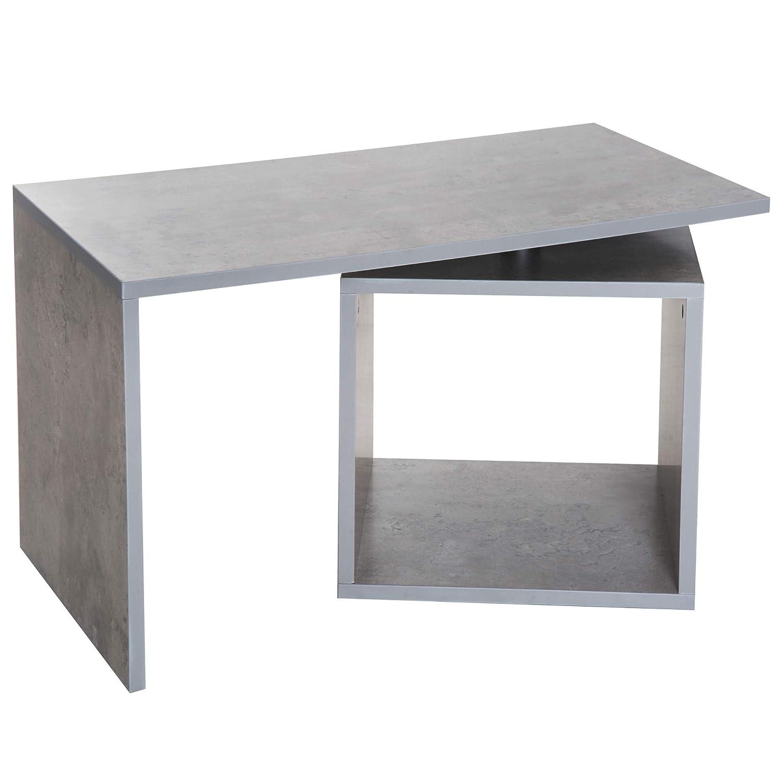 homcom Tavolino da Salotto Tavolino da Caffe Design Moderno con Scompartimento Portaoggetti Legno 77 × 40 × 44cm Grigio Aosom Italy
