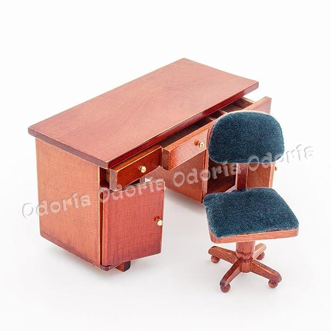 1:12 Miniatur Möbel Schreibtisch Veranstalter Holz Weinrot Für Puppenhaus