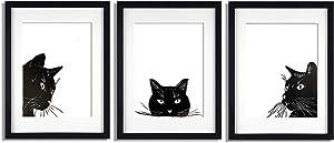 BEZALEL Black Cat Art Print, Cat Decorations - Handmade Black Cat Wall Art, Cat Pictures Wall Decor for Bedroom, Kitchen, Living Room - 3Pcs 8x10'' Unframed Three Cat Prints Wall Art & Posters