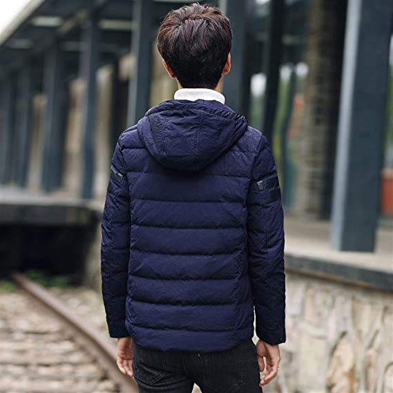 Wehor Winter Men Fashion Long Stand Collar Hooded Youth Slim Warm Duck Down Jacket