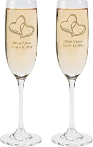 Personalized Wedding Two Hearts Champagne Flute Set - Home Decor - 2 Pieces