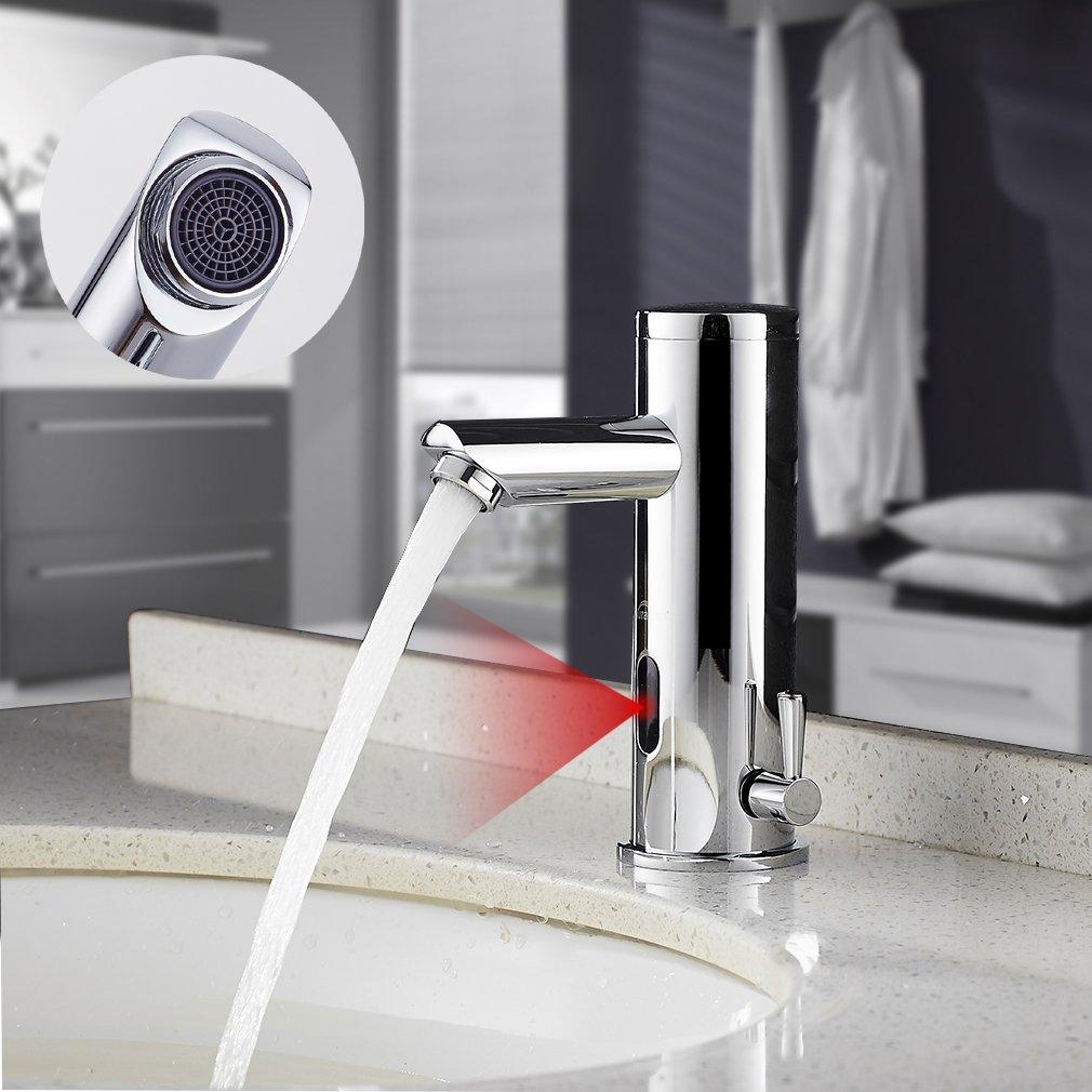 Auralum Infrarot Sensor Wasserhahn Einhebel Automatische Waschtischarmatur Kalt-Warmwasser fü r Bad Waschbecken