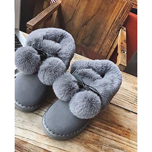 para de de Calf Mujer Casual botas nieve Confort botas HSXZ Gris negro botas redonda Invierno Zapatos plana talón puntera Gray PU Otoño Mid qznwU5