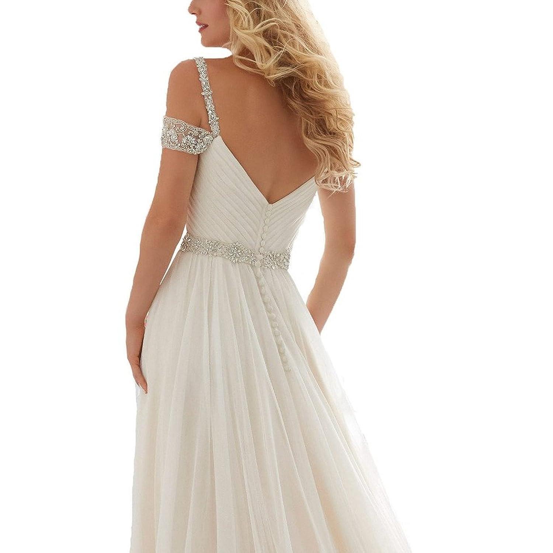 Abaowedding Women's Beaded Sleeveless Ruched Long Beach Prom Dress Wedding Gown