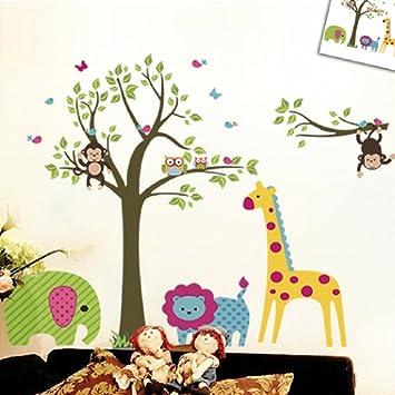 Discountfan Large Colorful Tree U0026 Jungle Animals Wall Sticker Nursery  Bedroom Wall Art Decor Cute Giraffe Part 70