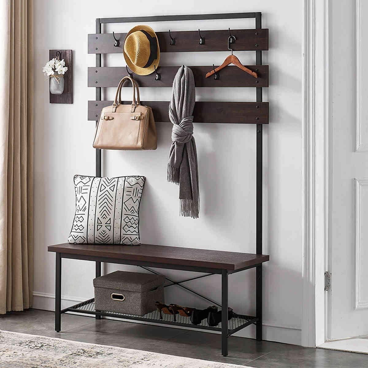 FELLYTN Industrial Hall Tree for Entryway, Wood and Metal Coat Rack with Shoe Bench, Storage Shelf Organizer Accent Furniture with Metal Frame, Espresso 71 Inch