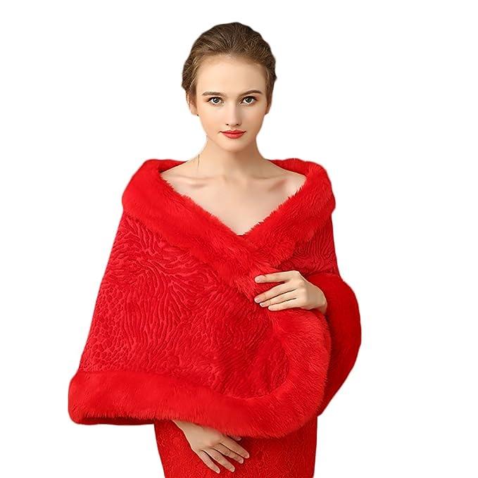 size 40 50eff 7db34 Icegrey Donna Inverno Scialli Rosso Morbido Coprispalle ...