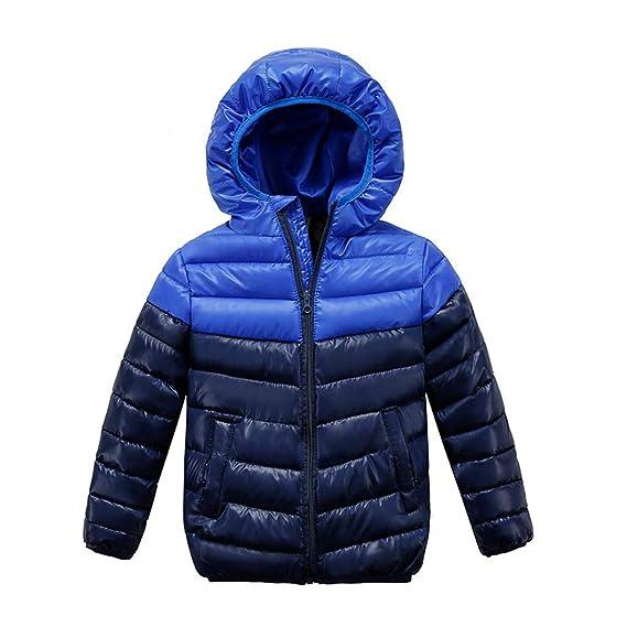 ODJOY-FAN Kinder Mäntel, Jungen Mädchen Dick Hooded Mantel Gepolstert Farbe  Patchwork Outerwear Winter bd21180108