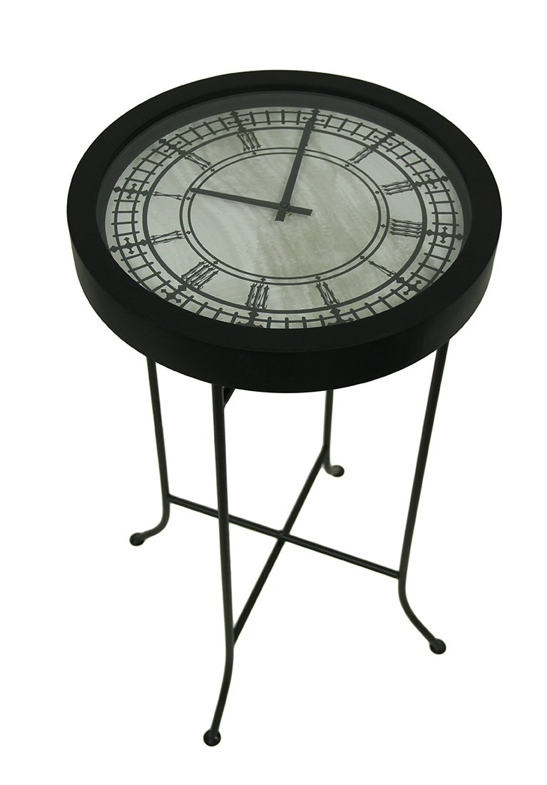 Amazon metal glass floor clocks clocktail time metal amazon metal glass floor clocks clocktail time metal marbled black clock table wglass top 15 x 275 x 15 inches black model 71275 home kitchen geotapseo Image collections