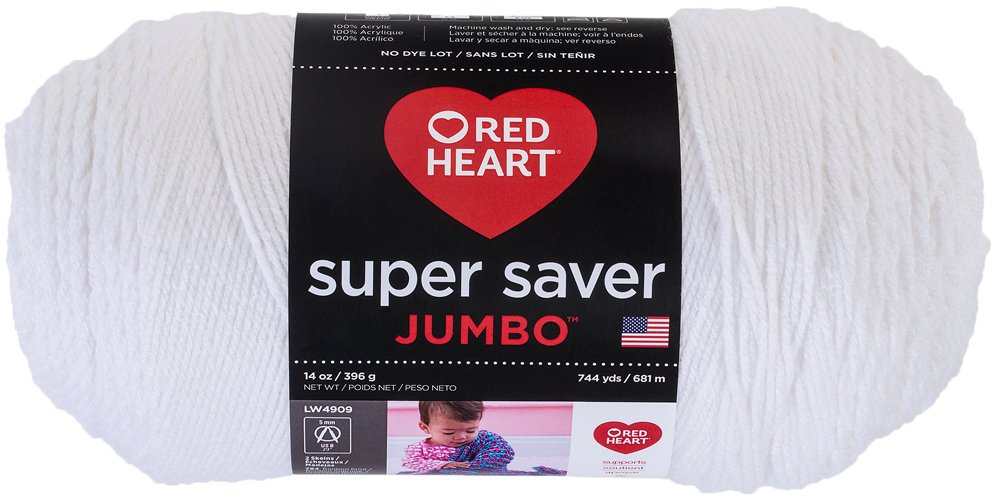 red heart super saver jumbo yarn white skein