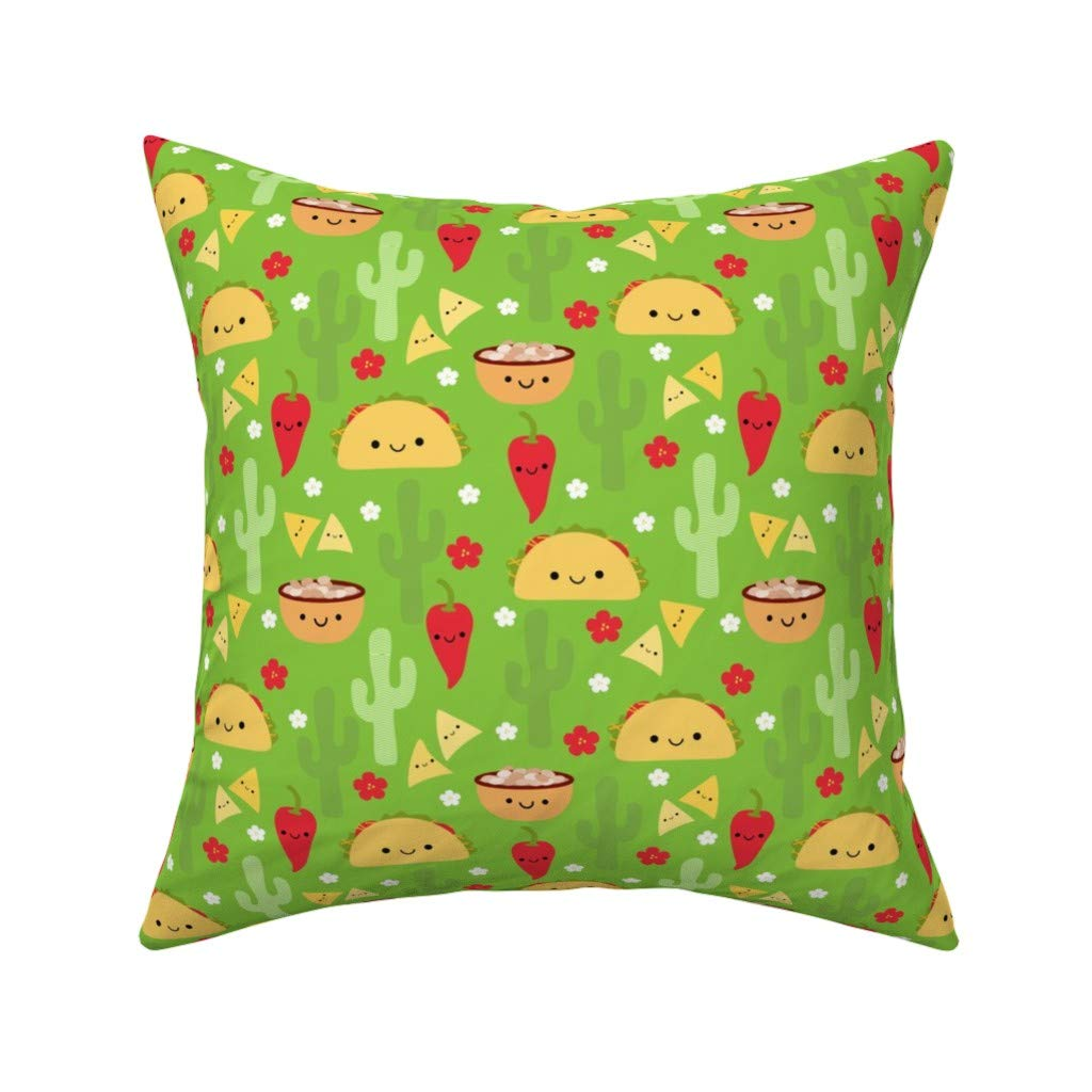 Amazon.com: Taco Eco Canvas Throw Pillow Happy Tacos and ...