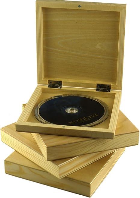 pomcat hecho a mano Rectangular Natural madera de pino CD DVD caso ...
