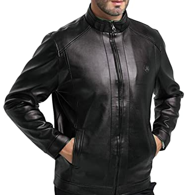 9ec327fca5 Hokny TD Men  s Fall Winter Coats Business Casual Faux Leather Jacket Stand  Collar 1