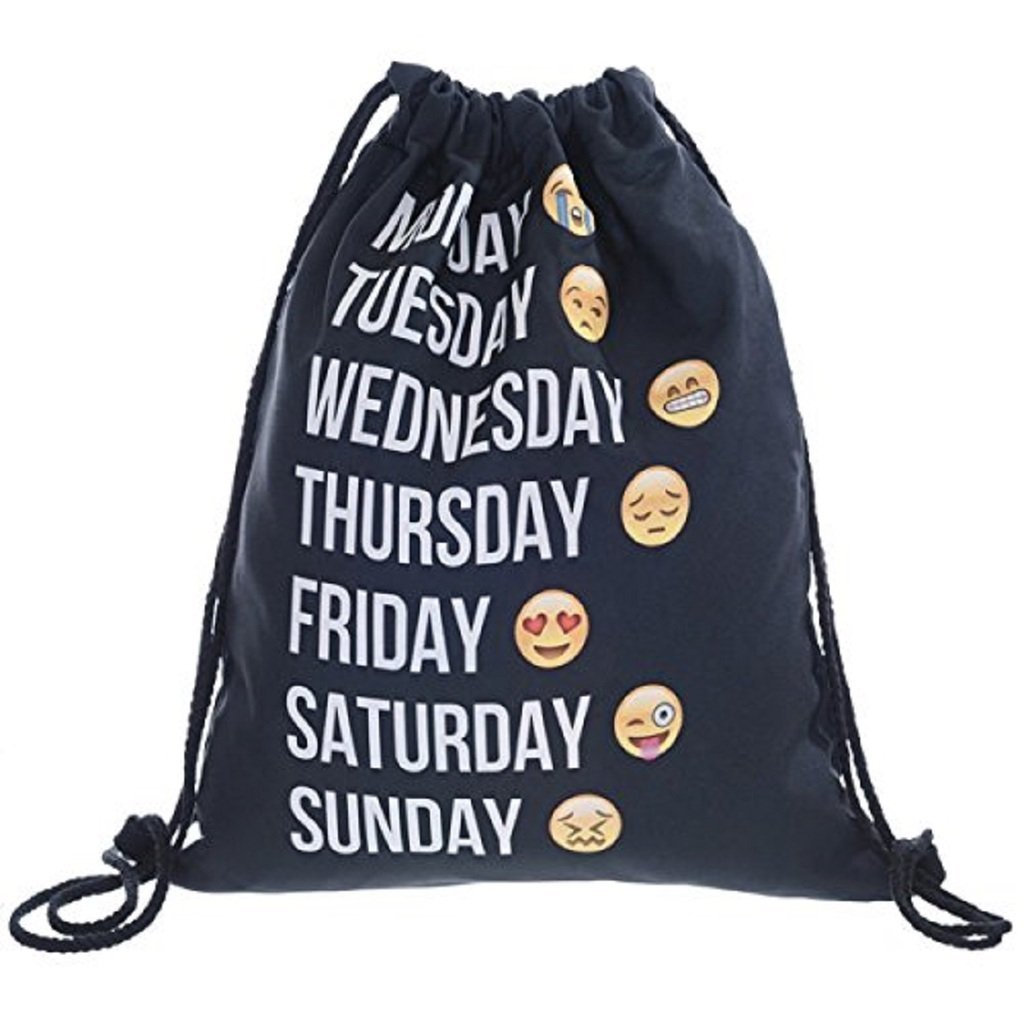 Aigemi Unicorn Print Drawstring Gym Sport Bag, Large Lightweight Gym Sackpack Backpack School Rucksack (Week-black)