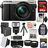 Panasonic Lumix DC-GX9 4K Wi-Fi Digital Camera & 12-60mm Lens (Silver) + 64GB Card + Battery + Backpack + Tripod + Flash + Filters + Tele/Wide Lens Kit