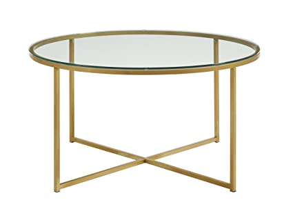 WE Furniture 36u0026quot; Coffee Table With X Base   Glass/Gold