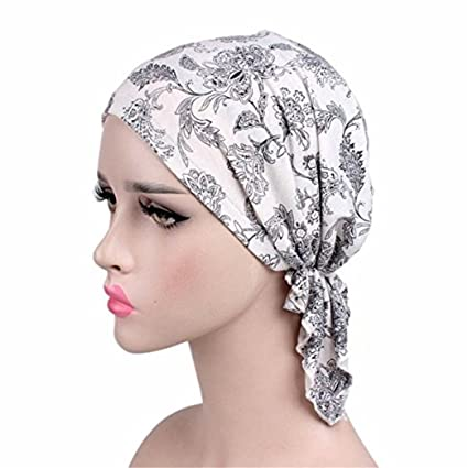 b1a24bbf4c3 Amazon.com  Wcysin Women Cotton Bandana Scarf Pre Tied Chemo Hat Beanie  Turban Headwear For Cancer Patients Ladies Turbante (Black leaf)  Arts