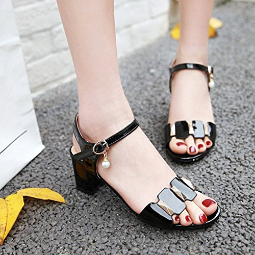 RAZAMAZA Mujer Moda Correa de tobillo Punta Abierta Sandalias Tacon Ancho Zapatos Negro